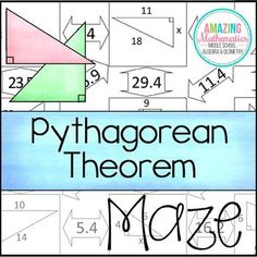 Pythagorean Theorem Maze This self-checking maze has 11 problems involving the Pythagorean Theorem. Students will be required to use the Pythagorean Theorem to solve for the missing leg or hypotenuse of right triangles. Education Quotes For Teachers, Quotes For Students, Quotes For Kids, Maze Worksheet, Worksheets, Pythagorean Theorem, Right Triangle, Maths Algebra, 8th Grade Math