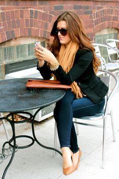Camel scarf & wedges/dark skinny/black blazer