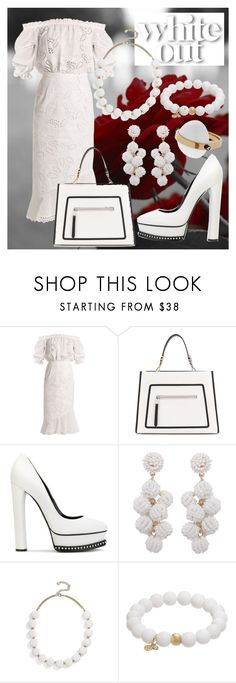 """""""WHITE !"""" by seus-eky ❤ liked on Polyvore featuring Saloni, Fendi, Casadei, Humble Chic, BaubleBar, TFS Jewelry and May Moma"""