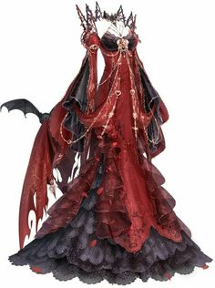 Blood Flame could be obtained through a Recharge. A red and black dress with a b… Blood Flame could be obtained through a Recharge. A red and black dress with a bat. Fashion Design Drawings, Fashion Sketches, Anime Outfits, Fashion Outfits, Fashion Blogs, Vogue Fashion, Fashion Editor, Fashion Days, Fashion Women