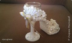 Wedding Glasses, Cute Crafts, Glass Of Milk, Candle Holders, Composition, Candles, Decorated Bottles, Brides, Weddings