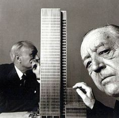 Irving Penn's brilliant portrait of Mies van der Rohe and Philip Johnson with a model of the seminal Seagram Building.
