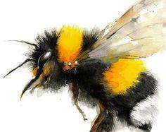 Bee watercolor painting Bumble Bee Art Print. by MiraGuerquin Skull Tatto, Bee Tattoo, Tatoo Art, Bee Painting, Painting & Drawing, Bee Drawing, Rock Painting, Drawn Art, Bee Art
