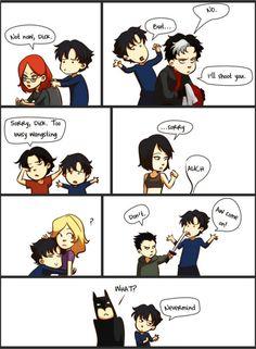 """Dick Grayson wants a hug."" Nightwing, Dc Batgirl, Tim Drake, Jason Todd, Damian Wayne, Red Hood, Catwoman, Red Robin, Richard Grayson"