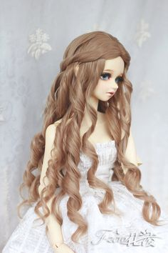 bjd doll wig1/3 doll girl wig Rome hairLong curly by FlowerZero