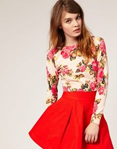 love the #floral and the #skirt