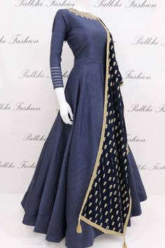 Designer Blue Soft Silk Designer Outfit with Gorgeous Handwork Duppata Designer blue soft silk outfit with elegant top handwork & sleeve design beautiful design.This gorgeous outfit comes with attractive velvet duppata Indian Fashion Dresses, Dress Indian Style, Indian Gowns, Indian Designer Outfits, Indian Attire, Indian Outfits, Indian Clothes, Designer Anarkali Dresses, Designer Dresses