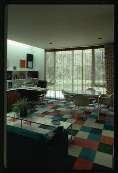 Color block floor - Miller house, Columbus, Indiana, 1953-57. Interior