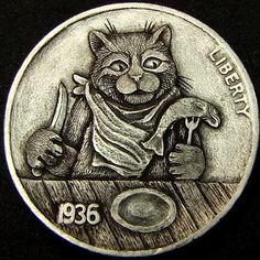 """Hobo Nickel """"What's For Supper?"""" Cat Kitten Mouse by Howard Thomas Hobo Nickel, Coin Art, Coin Collecting, Monet, Wood Carving, Metal Art, Precious Metals, Cats And Kittens, Coins"""