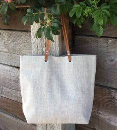 Linen and Leather Tote Bag - Natural Oatmeal by Independent Reign on Scoutmob