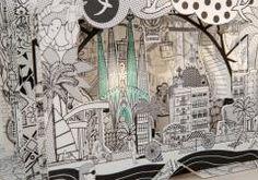macheta 3D din carton colorabil cu Barcelona