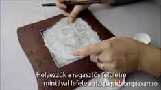 Platou de Craciun - Decoupage cu hartie de orez, pasta glitter prin sablon