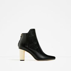ZARA - WOMAN - LAMINATED HIGH HEEL LEATHER ANKLE BOOTS