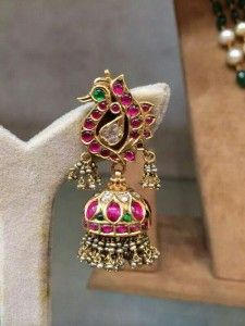 Peacock design ruby earrings with jhumkas India Jewelry, Gems Jewelry, Wedding Jewelry, Silver Jewelry, Hair Jewellery, Stone Jewelry, Gold Earrings Designs, Gold Jewellery Design, Indiana