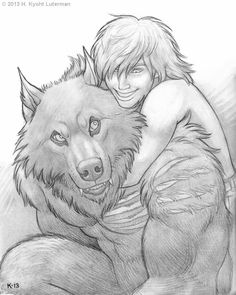 Two of our werewolf characters: her newly initiated Zane (in human form) and my Dante (in beast form). Zane And Dante Werewolf Hunter, Werewolf Art, Furry Wolf, Furry Art, Fantasy Creatures, Mythical Creatures, Character Art, Character Inspiration, Hybrid Art