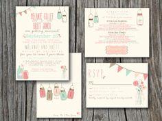 Wedding Invitation Suite Set - Printable, Custom, DIY - VINTAGE, RUSTIC, Pretty