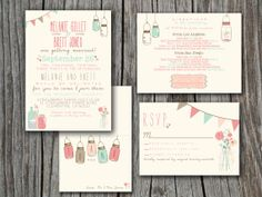 Wedding Invitation Suite Set - Printable, Custom, DIY - VINTAGE, RUSTIC, Pretty