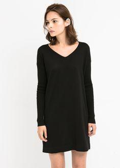 Slikovni rezultat za ravna crna haljina Knit Sweater Dress 3ee908709b4