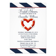 Navy White & Red Life Heart Nautical Bridal Shower Announcement