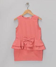 Toddler and girls coral drop waist peplum bow dress!