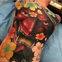 in both American Traditional tattooing and black and grey tattooing there is one image that dominates over all others—the skull. In Japanese tattooing there are some skulls, but the real equivalent would be the Hannya mask. Tattoo by Bez. #inked #Inkedmag #tattoo #hannya #skull #colorful #art #idea