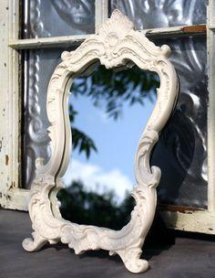 Baroque Ornate 8 x 10 Creamy Ivory  Mirror Frame/ Shabby Chic Decor. $48.00, via Etsy.