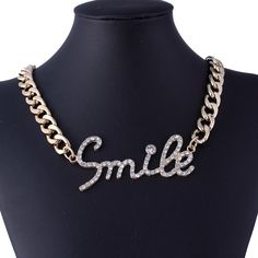 Fashion Alloy Letters Style Inlay Crystal Clothing Accessories Women Jewelry Necklace
