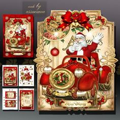 Christmas Santa Card Kit on Craftsuprint designed by Atlic Snezana - Christmas Santa Card Kit: 4 sheets for print with decoupage for 3D effect plus few sentiment tags (for your own personal text) - Now available for download!