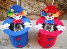 30 Recuerdos para el dia del niño - Educación Preescolar - Her Crochet Pearl Birthday Party, Birthday Table, Circus Birthday, Carnival Themed Party, Circus Party, Spring Crafts For Kids, Diy For Kids, Tin Can Crafts, Diy And Crafts