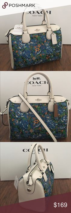 "WOWCOACH Mini Bennet Floral Satchel Guaranteed Authentic! New Arrival! Coach F57821 Mini Bennet satchel in flowe blue multicolor design. Sparkle flower charm NOT INCLUDED in this listing. Interior zip, cell phone and multifunction pockets. Zip-top closure. Beautiful green fabric lining. Handles with 4"" drop. Longer strap with 21""-23"" drop. Approx. measurements: 9""L x 6.5""H x 5""W. Item will be videotaped prior to shipping to ensure proof of condition. Coach Bags Satchels"