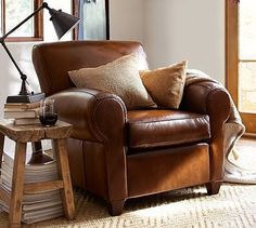 Manhattan Leather Club Chair #potterybarn Pops favorite Chair (and Brother and Molly and Maggies)