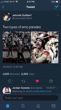 Johnnie Guilbert on My Chemical Romance and Panic! At The Disco Emo Band Memes, Mcr Memes, Emo Bands, Music Bands, Mcr Quotes, Music Quotes, Funny Tweets, Funny Jokes, Brendon Urie