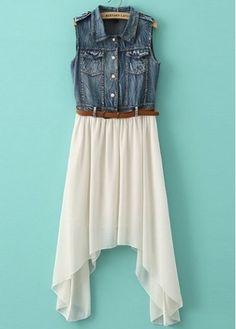 Pretty Turndown Collar Sleeveless Denim Dress with Belt