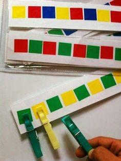Farben zuordnen, Handmotorik, Hand-Auge-Koordination