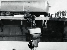 Rescue on Pit River Bridge. Virginia Schau, an amateur photographer, took this dramatic image; of a truck driver being rescued from his cab which was dangling over the edge of a bridge in California, with her Kodak Brownie. Her photograph won the prestigious Pulitzer prize for photography in 1954