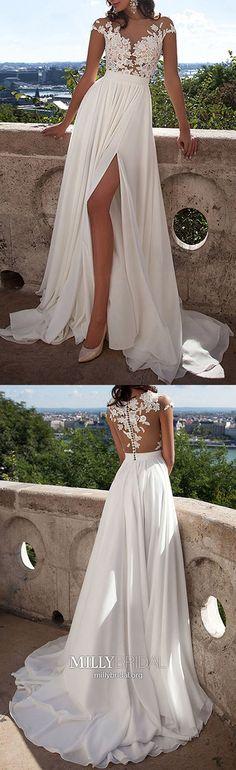 Ivory Prom Dresses Long,2018 Formal Evening Dresses Elegant,A-line Wedding Party Dresses Chiffon,Lace Pageant Graduation Dresses Cap Straps #MillyBridal #ivorydress #promdresses #pageantdress