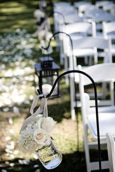 mason jar and shepard's hook ceremony aisle decor #wedding