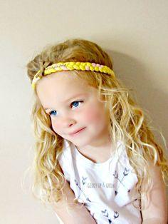 Braided Jersey Headband - Boho Headband with Crystals and leather bow