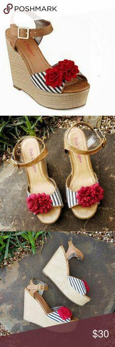 Pink & Pepper Platform Sandals Pink & Pepper platform sandals w/decorative flower on toe. Very little signs of wear. Great condition. Pink & Pepper Shoes Platforms