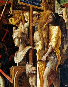 Detail: The triumphs of Caesar. 1484-92. Andrea Mantegna. Italian. 1431-1506.    tempera on canvas.