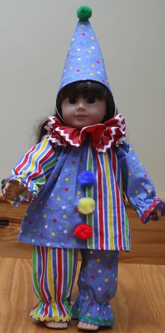 American Girl Outfits, American Girl Doll Costumes, American Girl Diy, American Doll Clothes, Clown Clothes, Ag Doll Clothes, Doll Clothes Patterns, Halloween Clown, Halloween Costumes