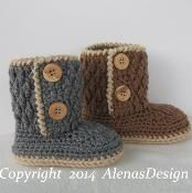 Two-Button Toddler Booties  - via @Craftsy