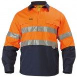 Bisley Workwear Safety Wear 2 Tone Closed Front Hi Vis Drill Shirt 3M Reflective Tape - Long Sleeve Orange/Navy