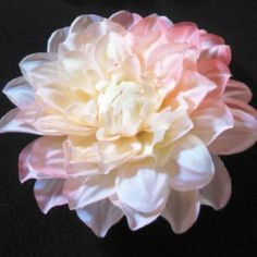 Pale Peach & White Dahlia Flower on Velvet Rose's Pin Up Dressing Room - The vintage shop tailored to you #PinUpHairFlower #StockingStuffer Free Postage within Australia