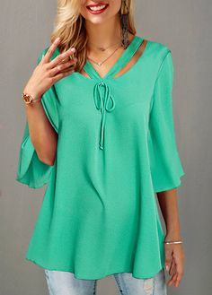755a42373898f3 Tie Front Three Quarter Sleeve Cutout Detail Blouse