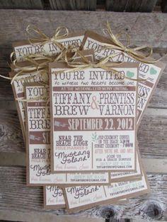 Invitaciones de boda al más puro estilo vintage con combinación de letras y tamaños