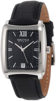 Nautica Men's N07546 Leather Square Analog  Watch NAUTICA. $56.93. Water-resistant to 99 feet (30 M). Stainless-steel case; black dial; date function. Analog-quartz movement. Mineral crystal. Case diameter: 33 mm