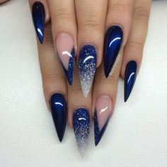 Have you been eager but never tried stiletto nails? Stiletto nails are always a favorite of trendy ladies. Blue Gel Nails, Blue Ombre Nails, Navy Blue Nails, Blue Glitter Nails, Blue Nail Designs, Acrylic Nail Designs, Gel Nagel Design, Long Stiletto Nails, Summer Acrylic Nails