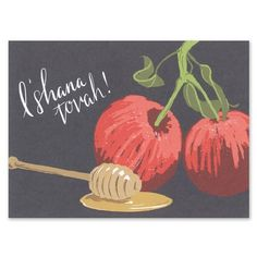 L'Shana Tovah Cards - Smudge Ink (finestationery.com)  Love the chalkboard illustrated design of the apples and honey, and the whimsical font!