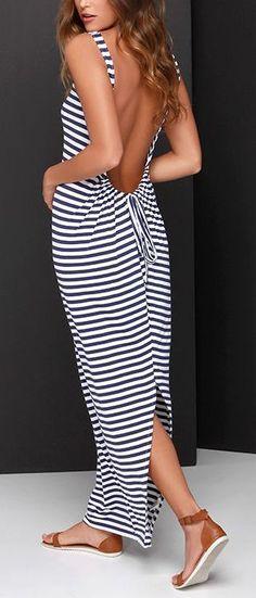 #style O'Neill Paris Navy Blue and Ivory Striped Maxi Dress